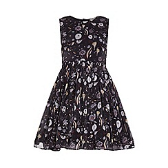 Yumi Girl - Black Flower Printed Party Dress