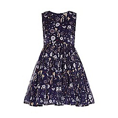 Yumi Girl - Blue Flower Printed Party Dress