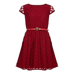 Yumi Girl - Red Black Floral Lace Belted Dress