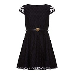 Yumi Girl - Black Black Floral Lace Belted Dress