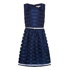 Yumi Girl - Blue Stripe Organza Belt Dress