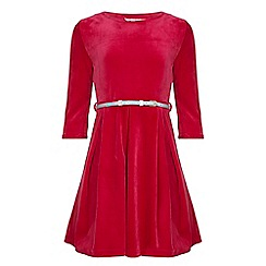 Yumi Girl - Pink Velvet Party Dress With Belt
