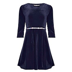 Yumi Girl - Blue Velvet Dress With Belt