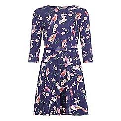 Yumi Girl - Blue Floral Bird Print Belt Dress