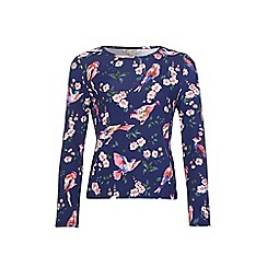 Yumi Girl - Blue Top With Bird & Blossom Print
