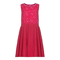 Yumi Girl - Pink Lace Pearl Embellished Dress