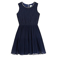 Yumi Girl - Blue Lace Pearl Embellished Dress