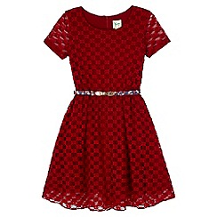 Yumi Girl - Red Lace Belted Party Dress