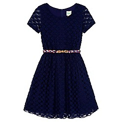 Yumi Girl - Blue Lace Belted Party Dress