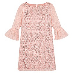 Yumi Girl - Pink Lace Flared Sleeve Tunic Dress