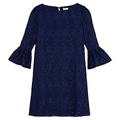 Yumi Girl - Blue Lace Flared Sleeve Tunic Dress