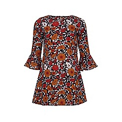 Yumi Girl - Multicoloured  Floral Bell Sleeved Tunic Dress