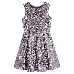 Yumi Girl - Grey Sequin Pleated Party Dress