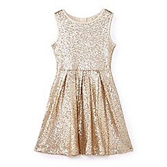Yumi Girl - Girls' gold sequin embellished occasion dress