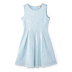 Yumi Girl - Girls' blue sequin embellished occasion dress