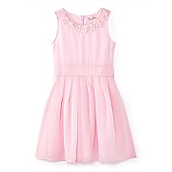 Yumi Girl - Girls' pink flower neckline occasion dress