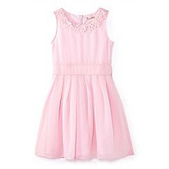 Yumi Girl - Girls' pink flower neckline occasion dress
