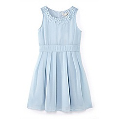 Yumi Girl - Girls' blue flower neckline occasion dress