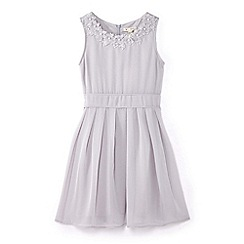 Yumi Girl - Girls' grey flower neckline occasion dress