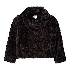 Yumi Girl - Black Rose Faux Fur Jacket