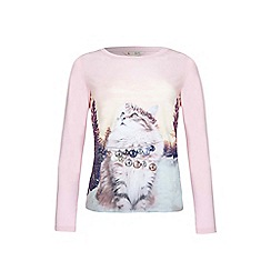 Yumi Girl - Pink Cat Bauble Long Sleeve Top
