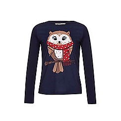 Yumi Girl - Blue Embellished Owl Long Sleeved Top