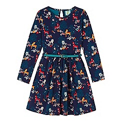 Yumi Girl - Blue Woodland Animal Belted Dress