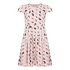Yumi Girl - Multicoloured  Pink Pleated Dress With Owl Print
