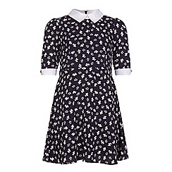 Yumi Girl - Blue Dog PrintCollared Skater Dress