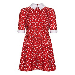 Yumi Girl - Red Dress With Dog Print