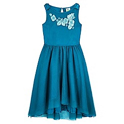 Yumi Girl - green Floral Applique Dress