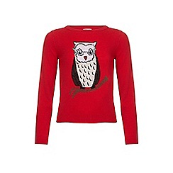 Yumi Girl - Red Owl Jumper With Sequins