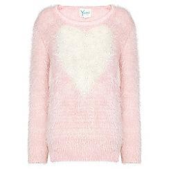 Yumi Girl - Pink Fluffy Heart Detail Jumper