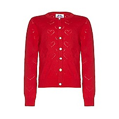 Yumi Girl - Red Heart Pointelle Cardigan