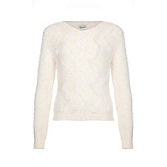 Yumi Girl - Ivory Beaded Lace Fluffy Jumper