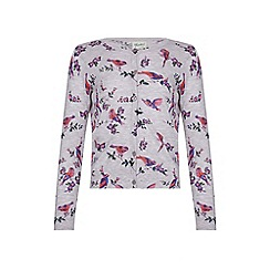 Yumi Girl - Grey Floral Bird Knitted Cardigan