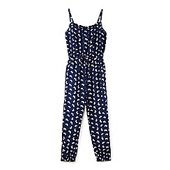 Yumi Girl - Navy dog print summer jumpsuit