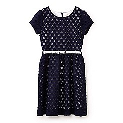 Yumi Girl - Girls' navy lace belted occasion dress
