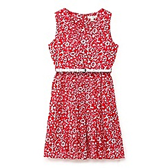 Yumi Girl - Girls' red floral print summer dress