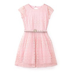 Yumi Girl - Girls' pink belted lace dress