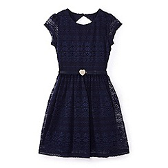 Yumi Girl - Girls' navy belted lace dress
