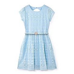 Yumi Girl - Girls' blue belted lace dress