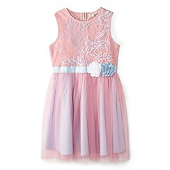 Yumi Girl - Pink embroidered floral ombre dress