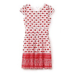 Yumi Girl - Girls' red elephant print tie waist dress