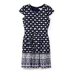 Yumi Girl - Girls' navy elephant print tie waist dress