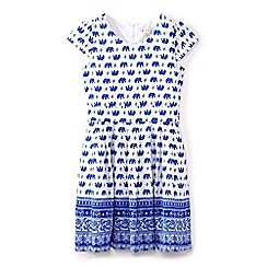 Yumi Girl - Girls' blue elephant print tie waist dress