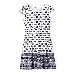 Yumi Girl - White elephant print tie waist dress