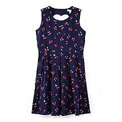 Yumi Girl - Girls' navy cherry pleat dress