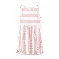 Yumi Girl - Girls' pink stripe floral lace dress