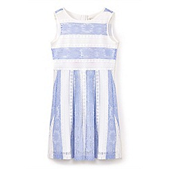 Yumi Girl - Girls' blue stripe print lace party dress